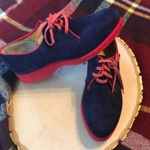 Vintage Blue suede Hush Puppies golf shoes